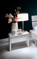 Rustiko Nachttisch, Fichte Massivholz weiß