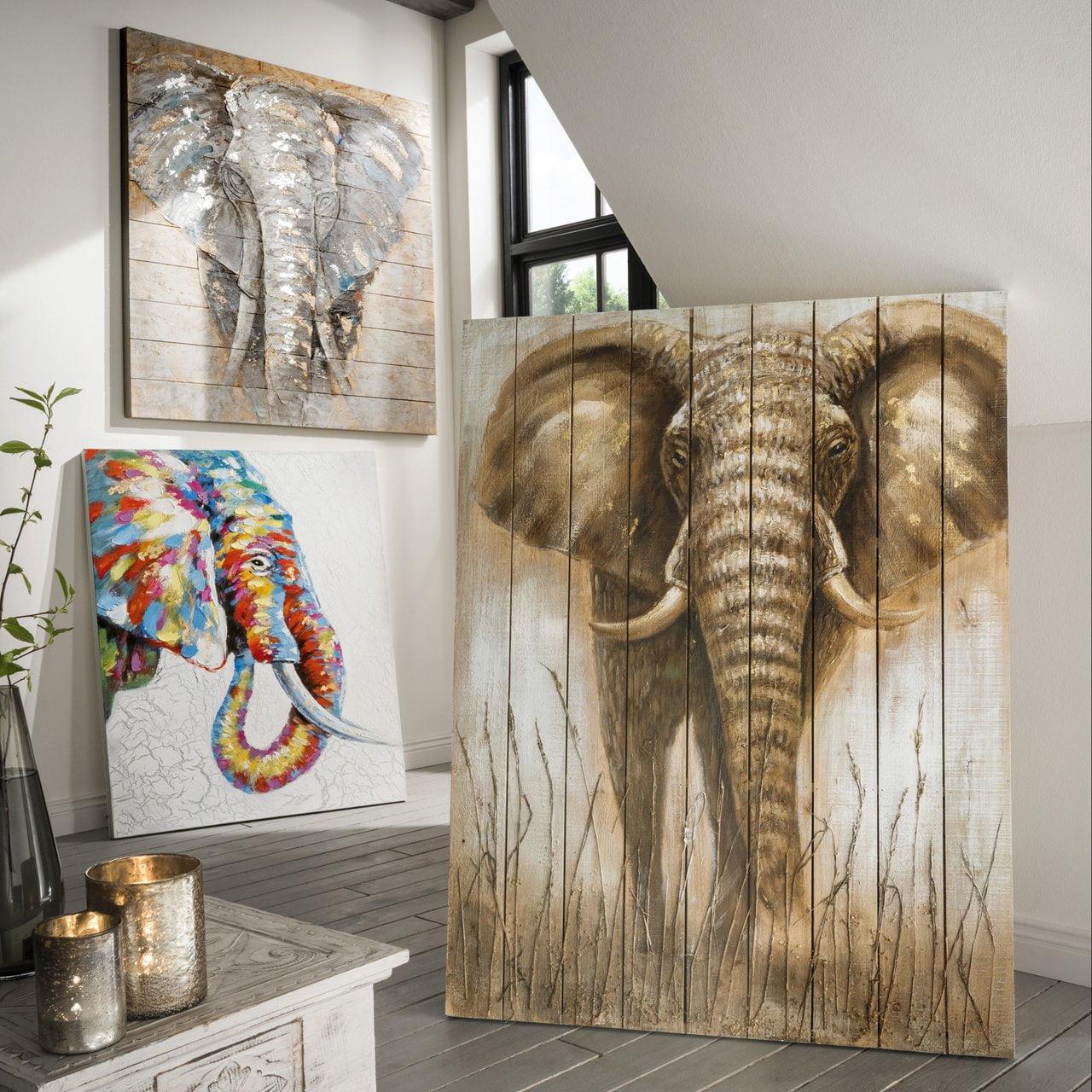 Wandbild Elefant Nr. 4, auf Holz
