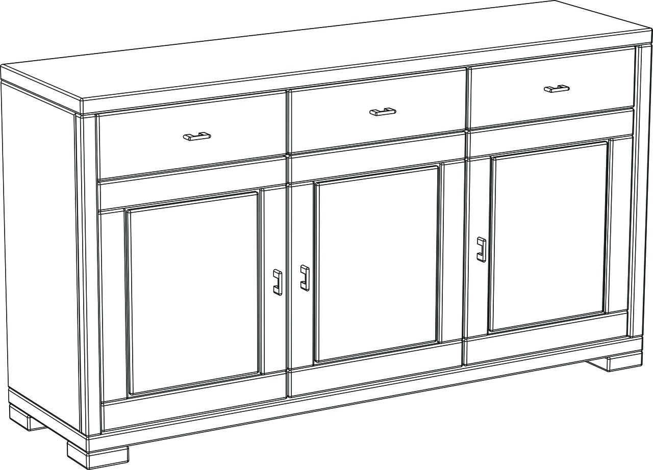 Vita Sideboard, 3-trg.