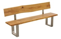 TI-0164 Sitzbank Zingst mit Rückenlehne & Metallbeinen (Edelstahloptik)