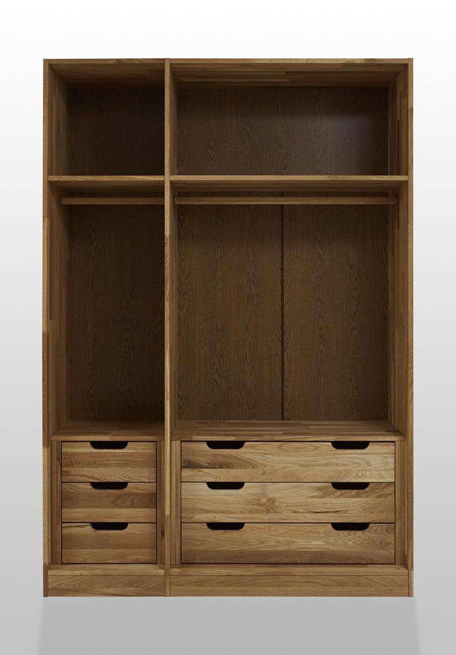 Kleiderschrank WEM mit innenliegenden Schubladen, Wildeiche, 3-türig