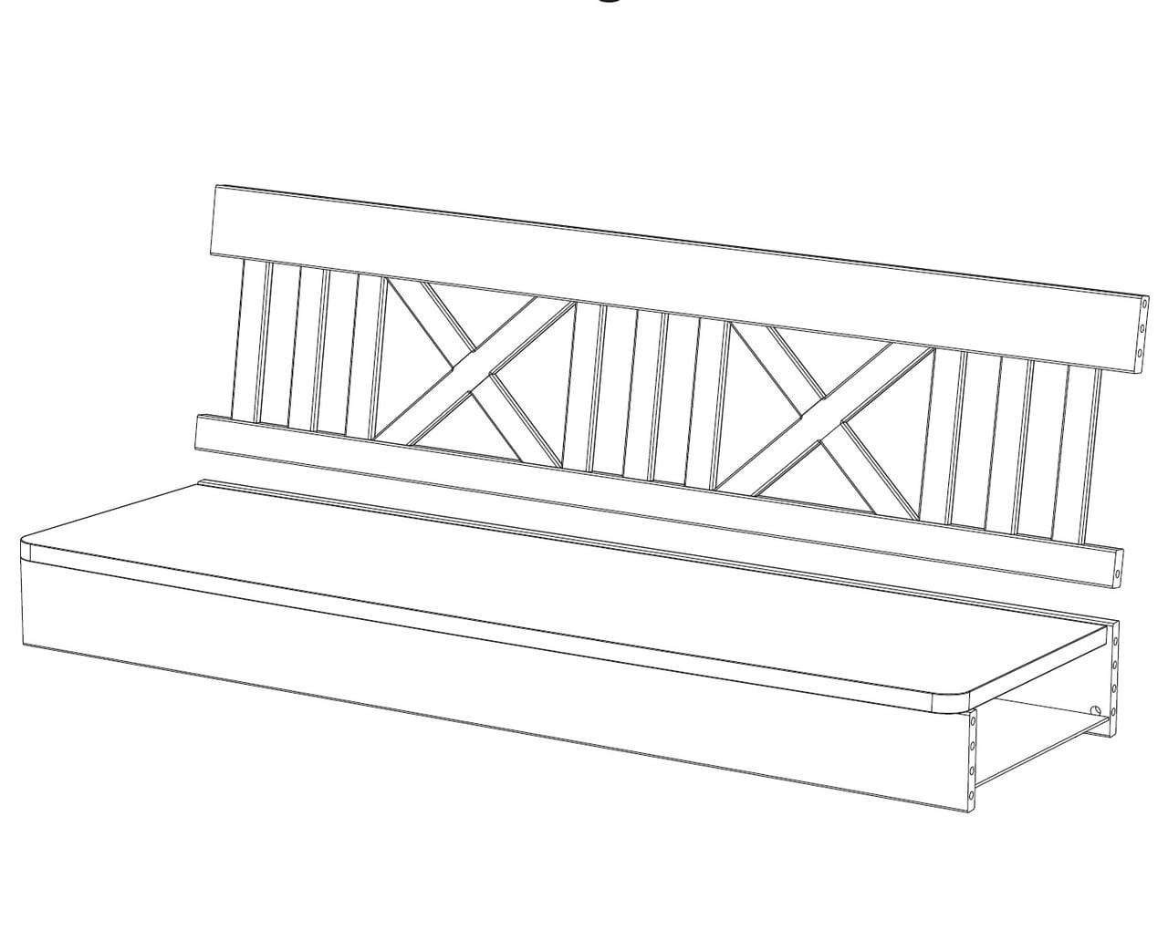 3-er Sitzbankelement X-Line