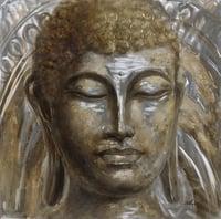Metall-Relief-Wandbild Buddhakopf