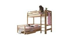 Hochbett Infans mit gerader Leiter, Höhe 185 cm & Einzelbett mit Rollschubkästen