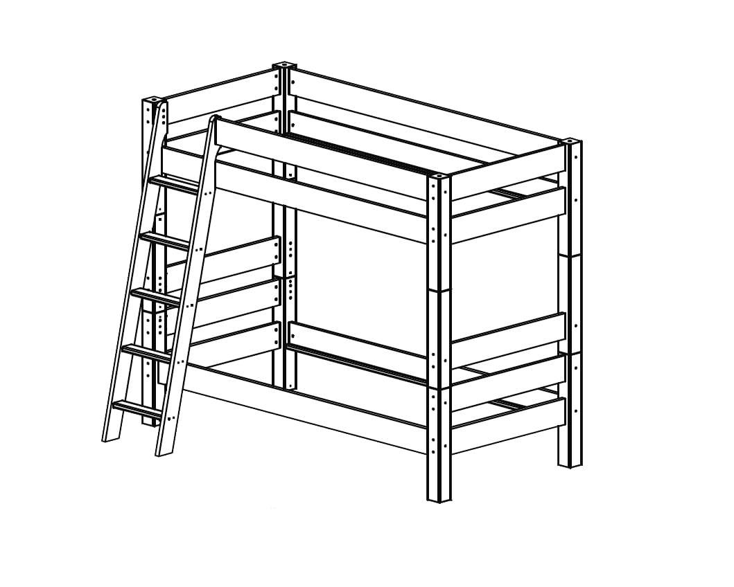 Etagenbett mit Schrägleiter, Höhe 169 cm